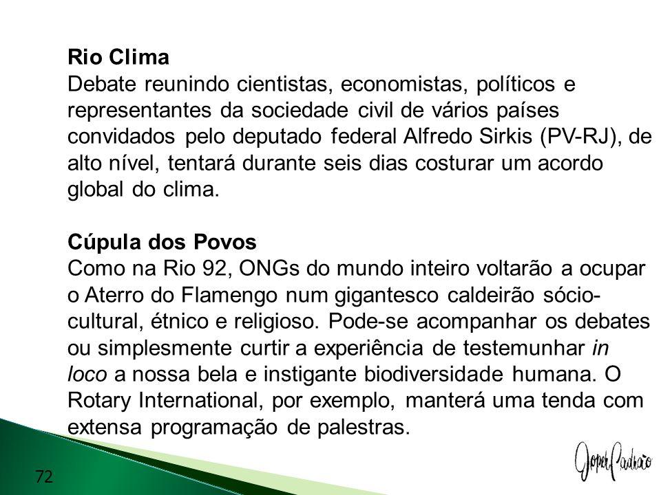 Rio Clima Debate reunindo cientistas, economistas, políticos e representantes da sociedade civil de vários países convidados pelo deputado federal Alf
