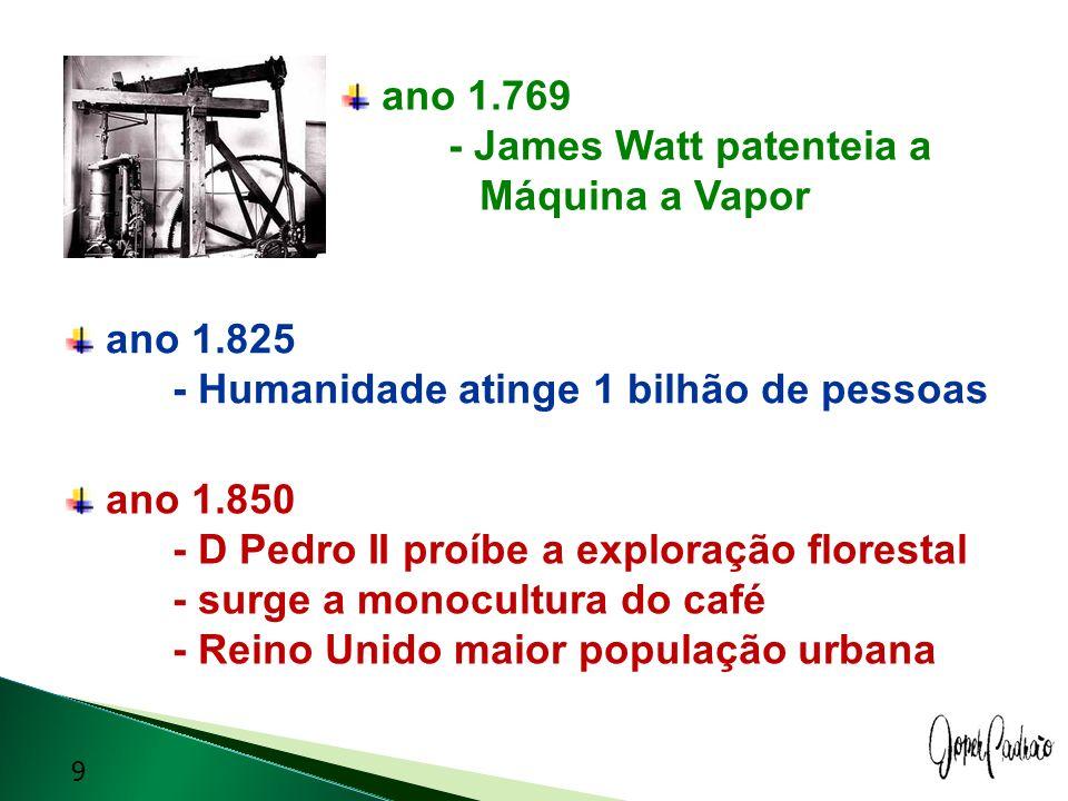 ano 1.769 - James Watt patenteia a Máquina a Vapor ano 1.825 - Humanidade atinge 1 bilhão de pessoas ano 1.850 - D Pedro II proíbe a exploração flores
