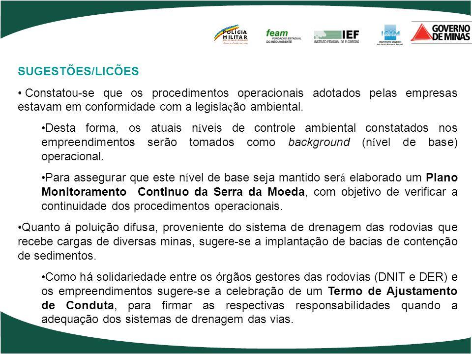 SUGESTÕES/LICÕES Constatou-se que os procedimentos operacionais adotados pelas empresas estavam em conformidade com a legisla ç ão ambiental. Desta fo
