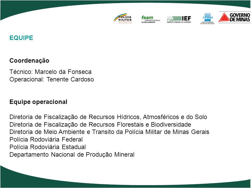 EQUIPE Coordenação Técnico: Marcelo da Fonseca Operacional: Tenente Cardoso Equipe operacional Diretoria de Fiscalização de Recursos Hídricos, Atmosfé