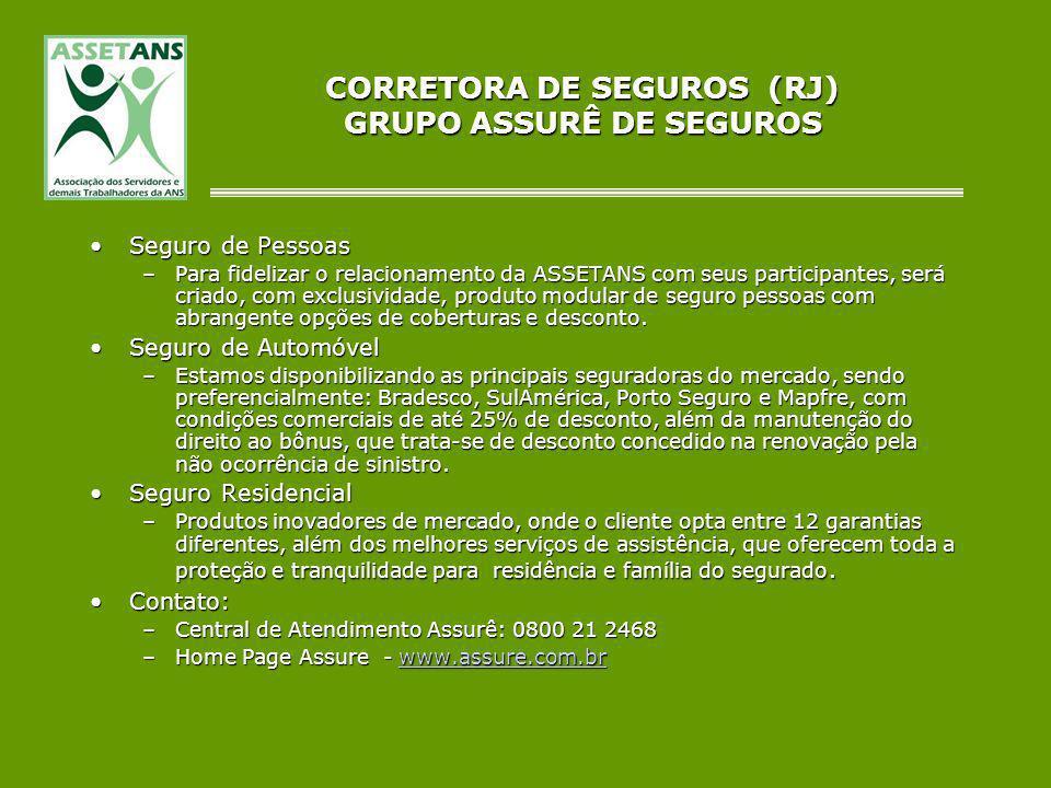 CORRETORA DE SEGUROS (RJ) GRUPO ASSURÊ DE SEGUROS Seguro de PessoasSeguro de Pessoas –Para fidelizar o relacionamento da ASSETANS com seus participant