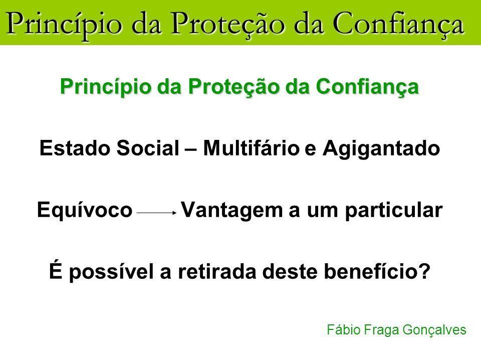 Princípio da Proteção da Confiança Fábio Fraga Gonçalves Princípio da Proteção da Confiança Estado Social – Multifário e Agigantado EquívocoVantagem a