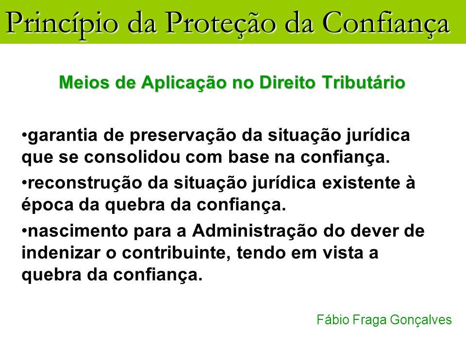 Princípio da Proteção da Confiança Fábio Fraga Gonçalves Meios de Aplicação no Direito Tributário garantia de preservação da situação jurídica que se