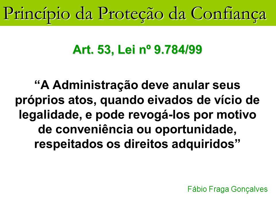 Princípio da Proteção da Confiança Fábio Fraga Gonçalves Art. 53, Lei nº 9.784/99 A Administração deve anular seus próprios atos, quando eivados de ví