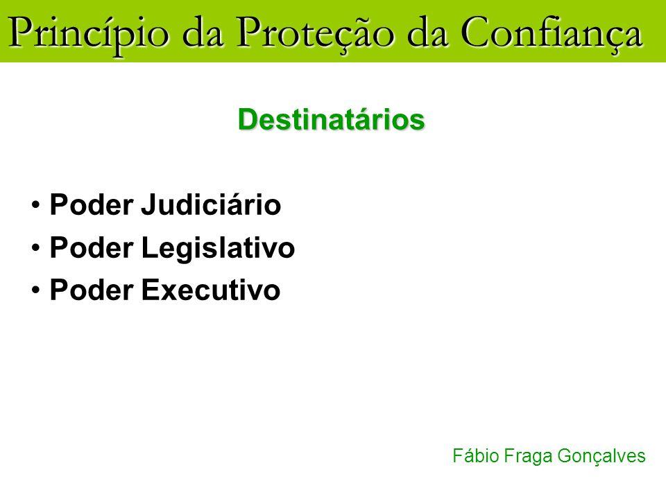 Princípio da Proteção da Confiança Fábio Fraga Gonçalves Destinatários Poder Judiciário Poder Legislativo Poder Executivo