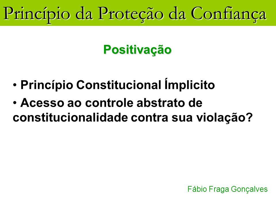 Princípio da Proteção da Confiança Fábio Fraga Gonçalves Positivação Princípio Constitucional Ímplicito Acesso ao controle abstrato de constitucionali