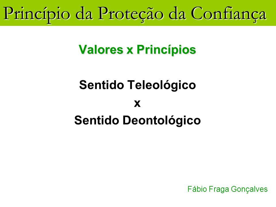 Princípio da Proteção da Confiança Fábio Fraga Gonçalves Valores x Princípios Sentido Teleológico x Sentido Deontológico