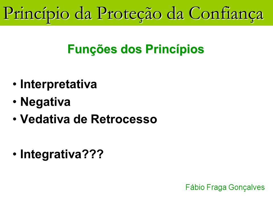 Princípio da Proteção da Confiança Fábio Fraga Gonçalves Funções dos Princípios Interpretativa Negativa Vedativa de Retrocesso Integrativa???