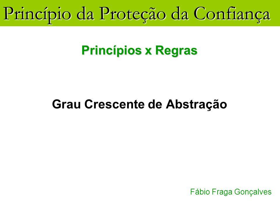 Princípio da Proteção da Confiança Fábio Fraga Gonçalves Princípios x Regras Grau Crescente de Abstração