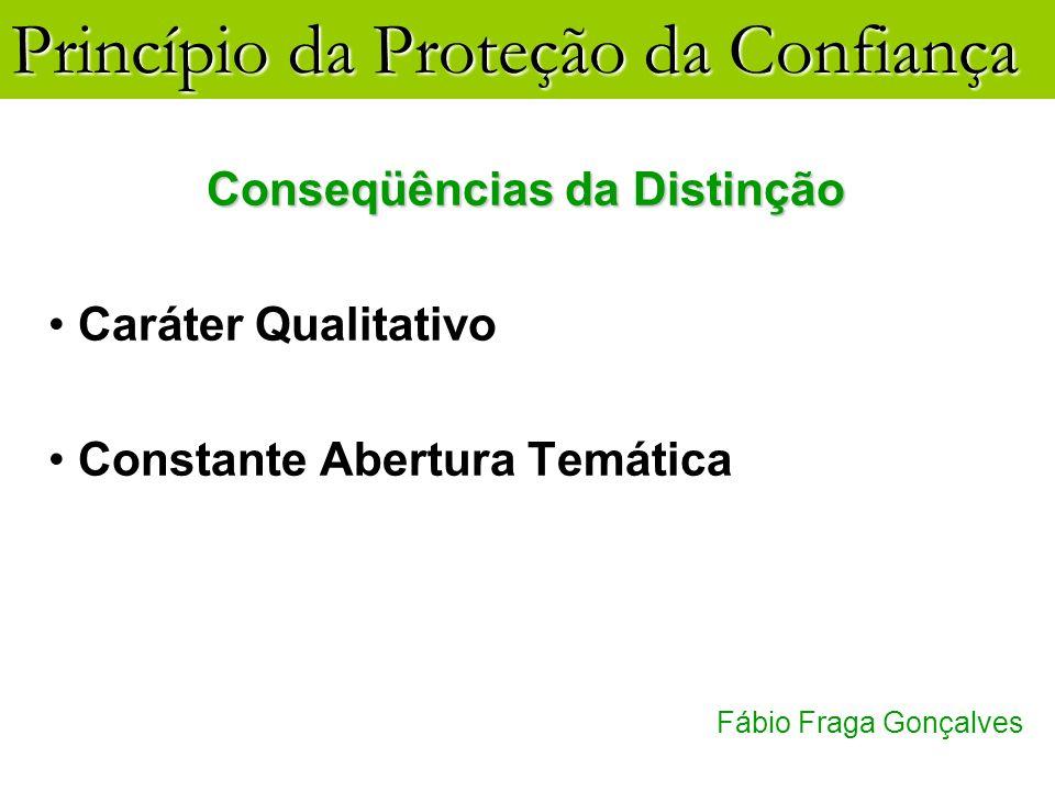 Princípio da Proteção da Confiança Fábio Fraga Gonçalves Conseqüências da Distinção Caráter Qualitativo Constante Abertura Temática