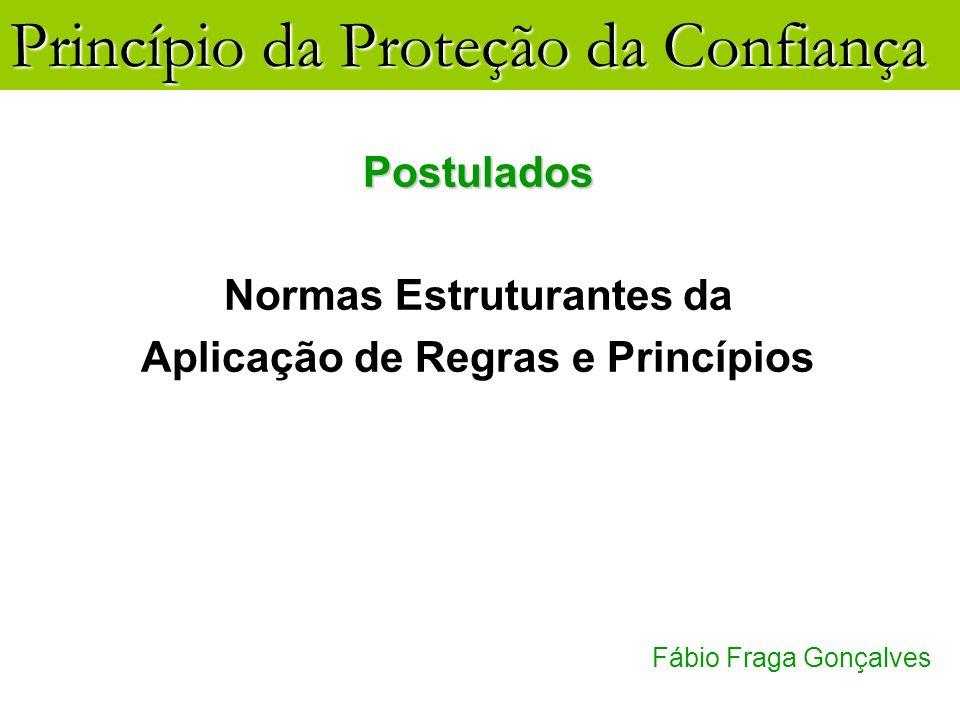 Princípio da Proteção da Confiança Fábio Fraga Gonçalves Postulados Normas Estruturantes da Aplicação de Regras e Princípios