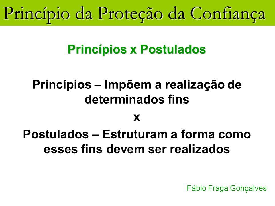 Princípio da Proteção da Confiança Fábio Fraga Gonçalves Princípios x Postulados Princípios – Impõem a realização de determinados fins x Postulados –