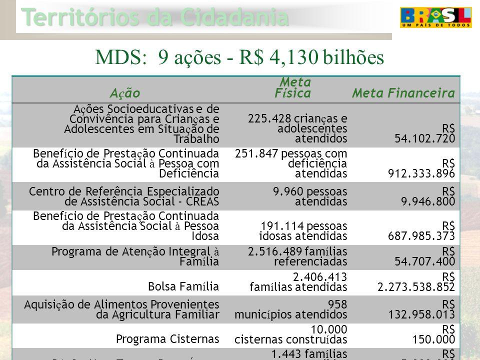 Territórios da Cidadania 12 MDS: 9 ações - R$ 4,130 bilhões A ç ão Meta F í sicaMeta Financeira A ç ões Socioeducativas e de Convivência para Crian ç