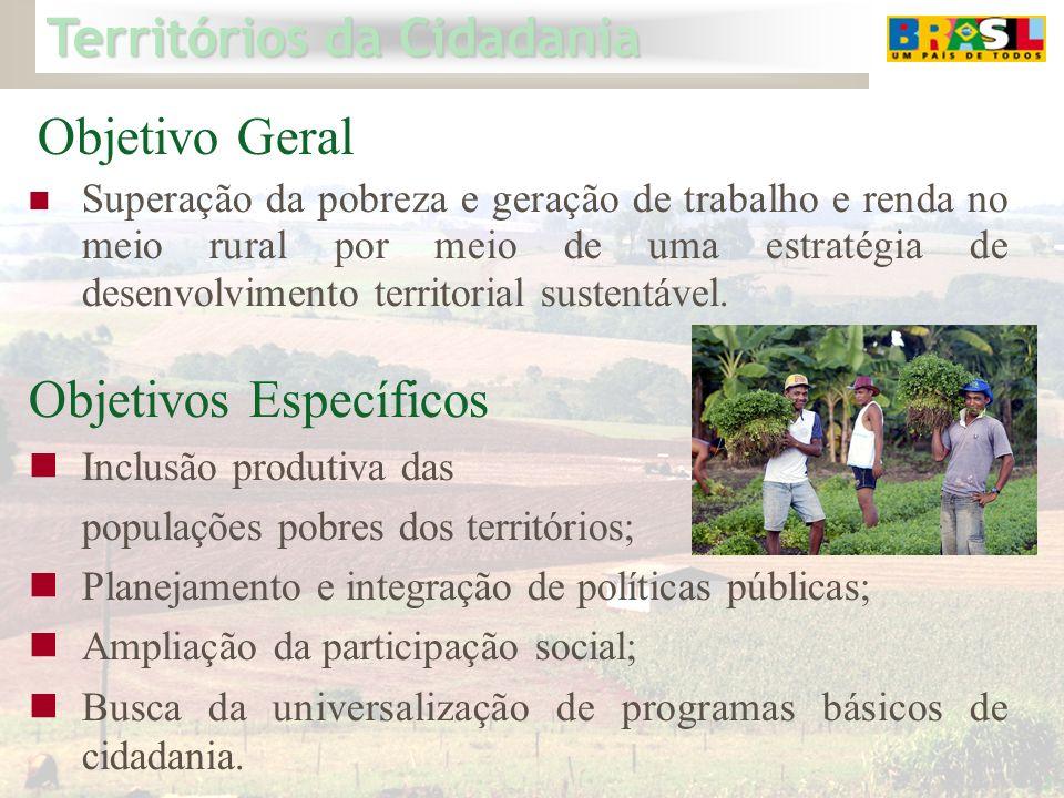 Territórios da Cidadania 2 Objetivos Específicos Inclusão produtiva das populações pobres dos territórios; Planejamento e integração de políticas públ