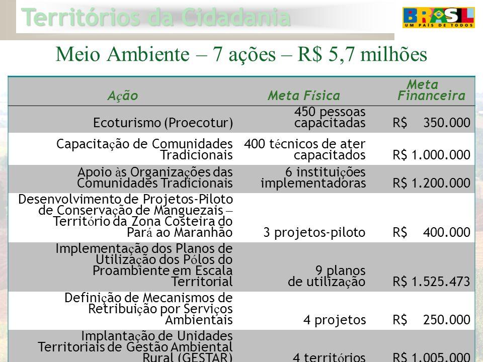 Territórios da Cidadania 20 Meio Ambiente – 7 ações – R$ 5,7 milhões A ç ãoMeta F í sica Meta Financeira Ecoturismo (Proecotur) 450 pessoas capacitada