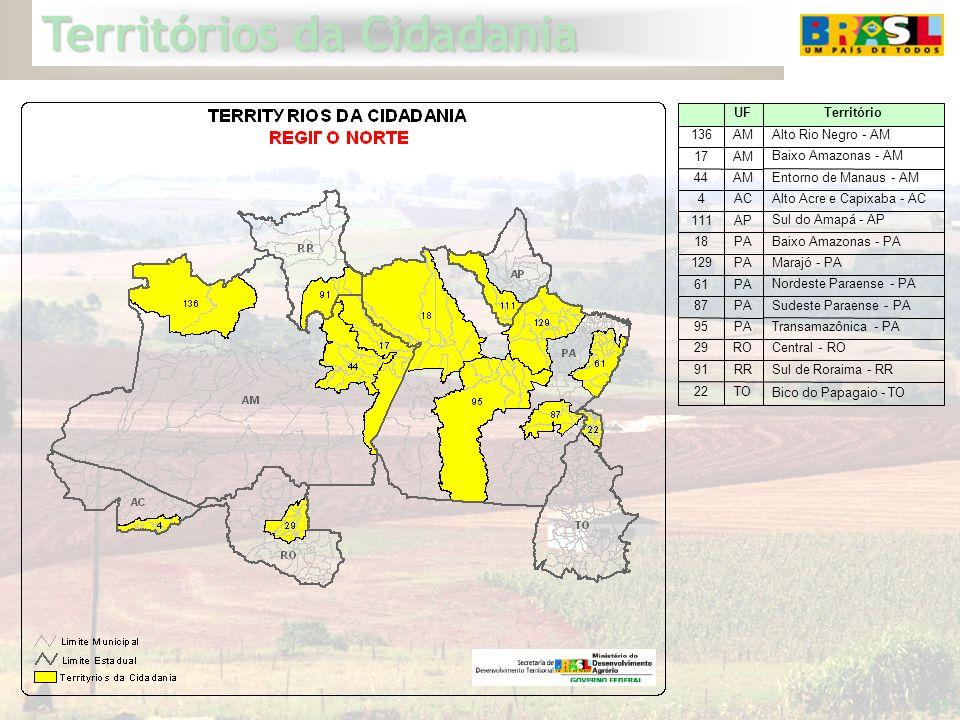 Territórios da Cidadania 25 PA AM 129 61 95 87 17 44 22 91 29 18 111 4 136 Bico do Papagaio - TO TO Sul de Roraima - RR RR Central - RO RO Transamazôn