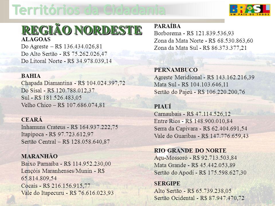 Territórios da Cidadania 28 ALAGOAS Do Agreste – R$ 136.434.026,81 Do Alto Sertão - R$ 75.262.026,47 Do Litoral Norte - R$ 34.978.039,14 BAHIA Chapada
