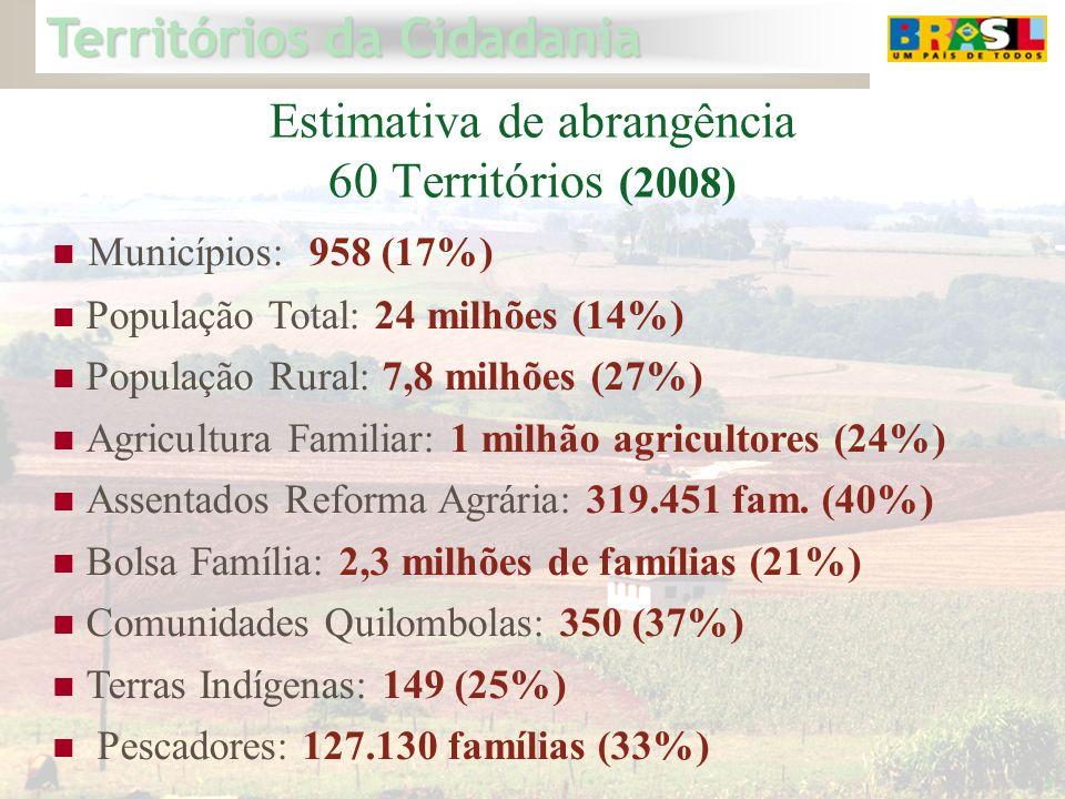 Territórios da Cidadania 3 Estimativa de abrangência 60 Territórios (2008) Municípios: 958 (17%) População Total: 24 milhões (14%) População Rural: 7,