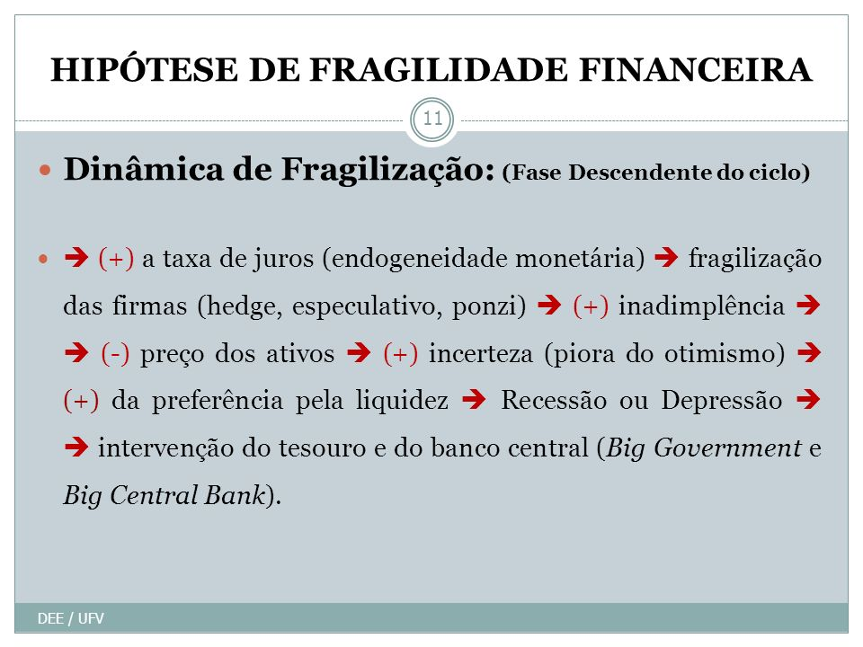 HIPÓTESE DE FRAGILIDADE FINANCEIRA Dinâmica de Fragilização: (Fase Descendente do ciclo) (+) a taxa de juros (endogeneidade monetária) fragilização das firmas (hedge, especulativo, ponzi) (+) inadimplência (-) preço dos ativos (+) incerteza (piora do otimismo) (+) da preferência pela liquidez Recessão ou Depressão intervenção do tesouro e do banco central (Big Government e Big Central Bank).