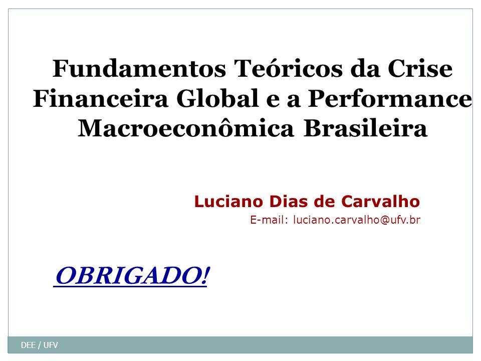 DEE / UFV Fundamentos Teóricos da Crise Financeira Global e a Performance Macroeconômica Brasileira Luciano Dias de Carvalho E-mail: luciano.carvalho@