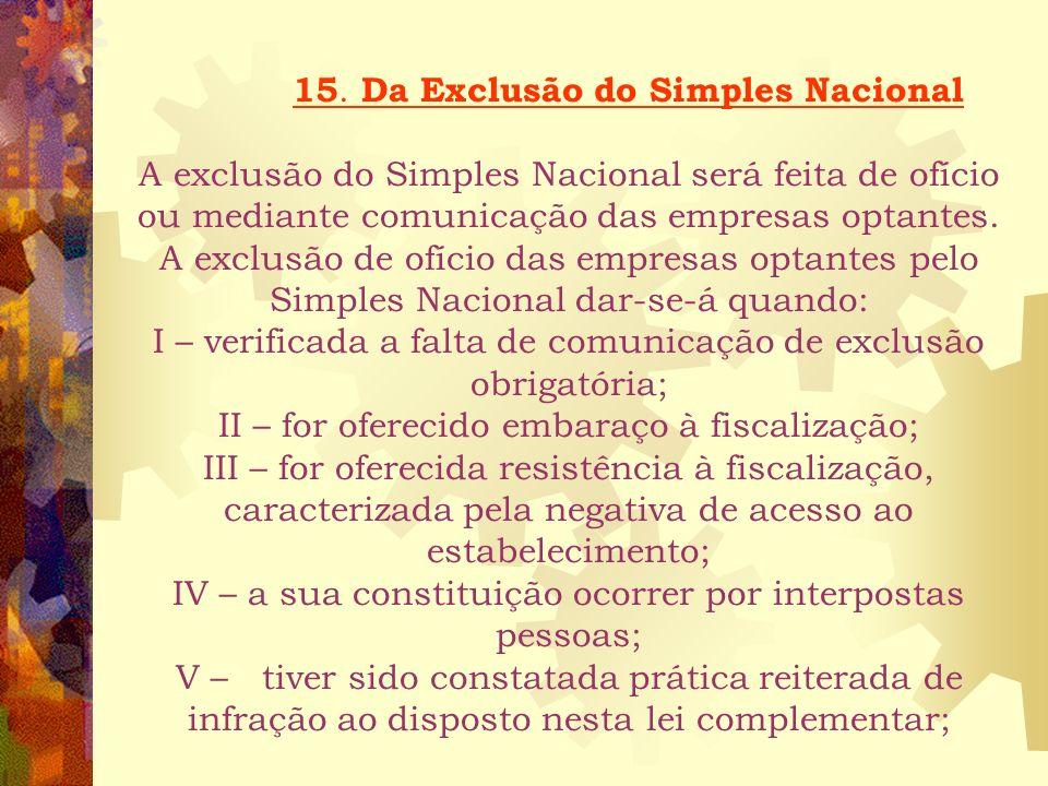14. Das Obrigações Fiscais Acessórias As microempresas e empresas de pequeno porte, optantes do Simples Nacional, apresentarão, anualmente, à Secretar