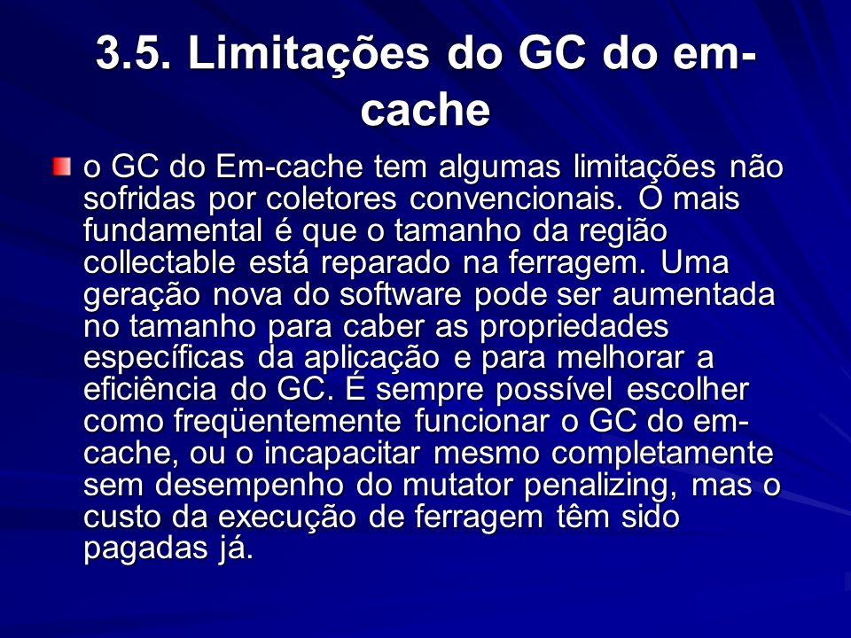 3.4. O algoritmo da coleção do em-cache O coletor do lixo do em-cache (ICGC) é um simples marca-varre o coletor do lixo mas com a ferragem introduzida