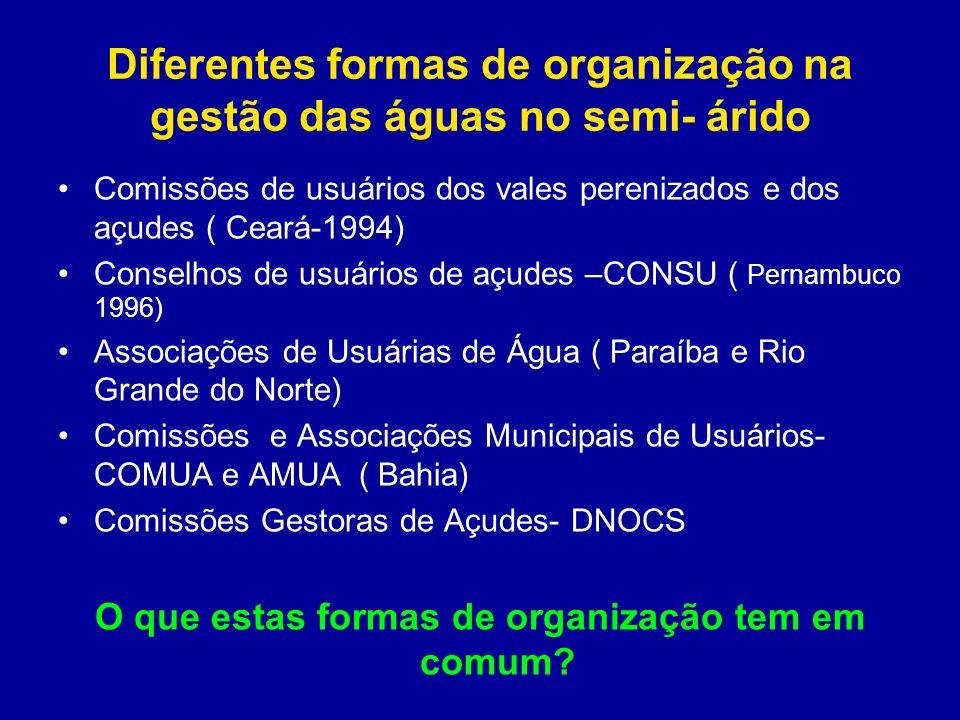 Diferentes formas de organização na gestão das águas no semi- árido Comissões de usuários dos vales perenizados e dos açudes ( Ceará-1994) Conselhos d