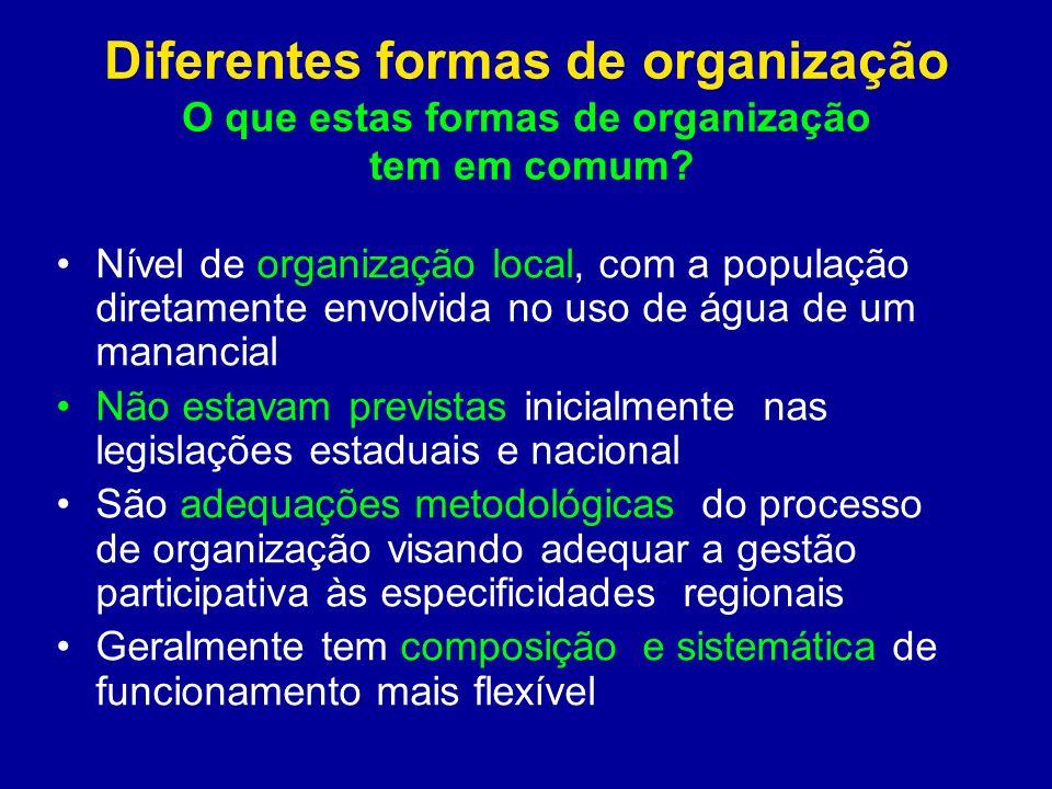 Diferentes formas de organização O que estas formas de organização tem em comum? Nível de organização local, com a população diretamente envolvida no