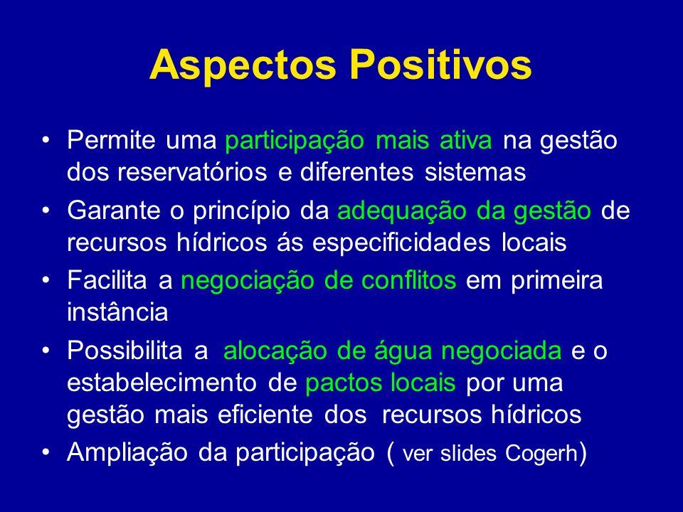 Aspectos Positivos Permite uma participação mais ativa na gestão dos reservatórios e diferentes sistemas Garante o princípio da adequação da gestão de