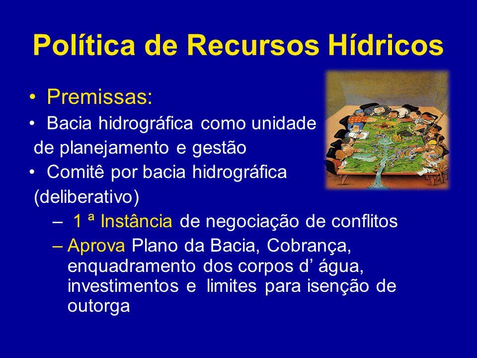 Política de Recursos Hídricos Condicionantes legais, políticos e institucionais para efetividade da gestão participativa - Arcabouço legal ( adequado) –Estrutura Institucional ( órgãos gestor e executores da Política de Recursos Hídricos) –Clara definição de atribuições –Recursos humanos e financeiros destinados para Gestão de RH –Implementação dos instrumentos e procedimentos de gestão ( Planos Estadual e de Bacia, Cadastro, Outorga, Sistema de Informação, Monitoramento Quanti e Qualitativo, Cobrança) (Decisão política do governo)