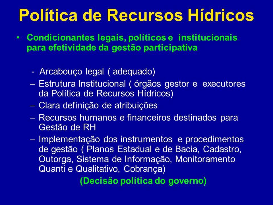 Política de Recursos Hídricos Condicionantes legais, políticos e institucionais para efetividade da gestão participativa - Arcabouço legal ( adequado)