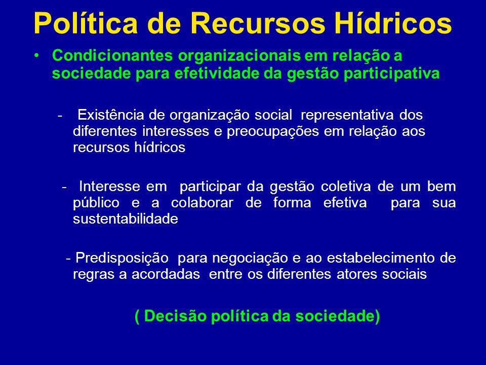 Política de Recursos Hídricos Condicionantes organizacionais em relação a sociedade para efetividade da gestão participativa - Existência de organizaç