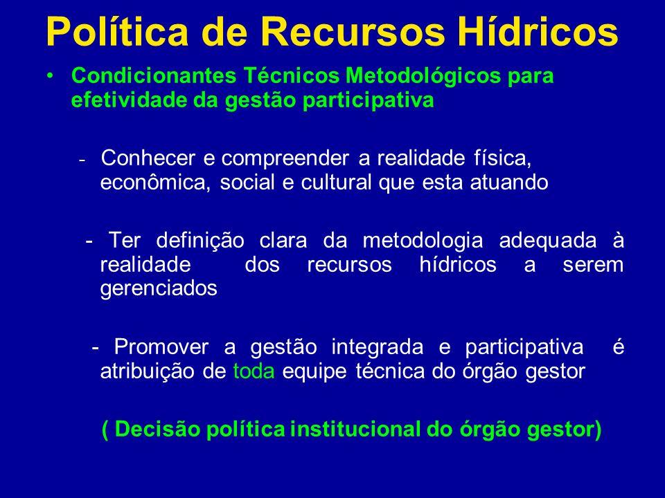 Política de Recursos Hídricos Condicionantes Técnicos Metodológicos para efetividade da gestão participativa - Conhecer e compreender a realidade físi