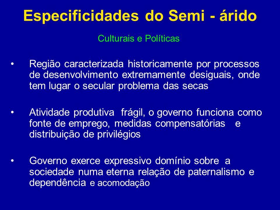 Especificidades do Semi - árido Culturais e Políticas Região caracterizada historicamente por processos de desenvolvimento extremamente desiguais, ond