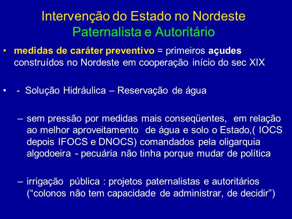 Intervenção do Estado no Nordeste Paternalista e Autoritário medidas de caráter preventivo = primeiros açudes construídos no Nordeste em cooperação in