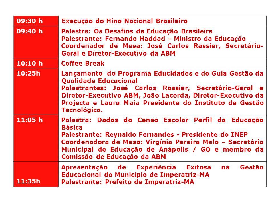 09:30 h Execução do Hino Nacional Brasileiro 09:40 h Palestra: Os Desafios da Educação Brasileira Palestrante: Fernando Haddad – Ministro da Educação