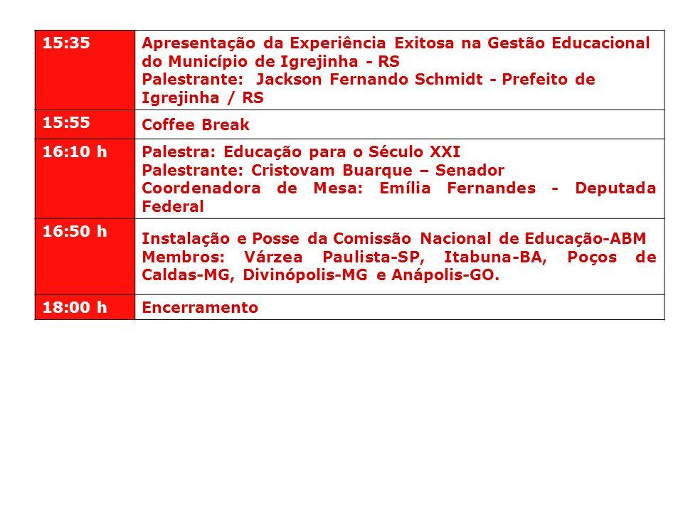 15:35 Apresentação da Experiência Exitosa na Gestão Educacional do Município de Igrejinha - RS Palestrante: Jackson Fernando Schmidt - Prefeito de Igr