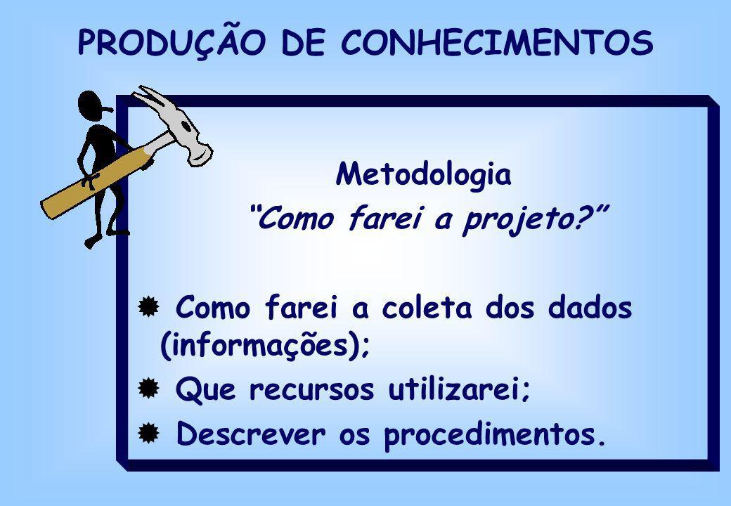 Metodologia Como farei a projeto? Como farei a coleta dos dados (informações); Que recursos utilizarei; Descrever os procedimentos. PRODUÇÃO DE CONHEC