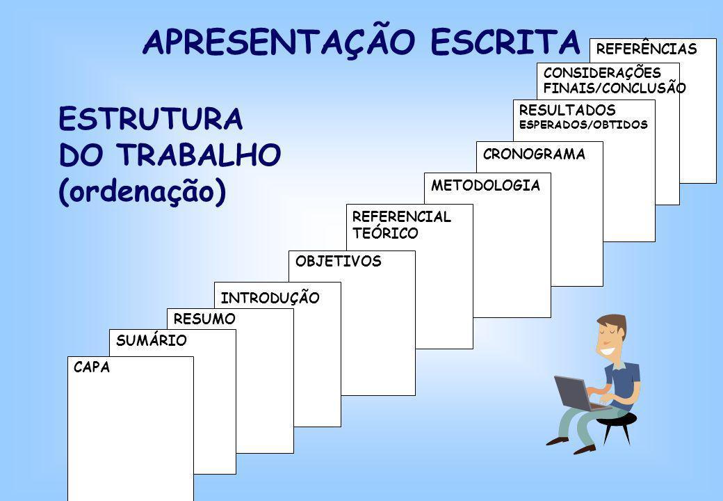 REFERÊNCIAS CONSIDERAÇÕES FINAIS/CONCLUSÃO RESULTADOS ESPERADOS/OBTIDOS CRONOGRAMA METODOLOGIA REFERENCIAL TEÓRICO OBJETIVOS INTRODUÇÃO RESUMO SUMÁRIO