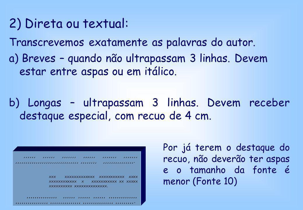 2) Direta ou textual: Transcrevemos exatamente as palavras do autor. a) Breves – quando não ultrapassam 3 linhas. Devem estar entre aspas ou em itálic