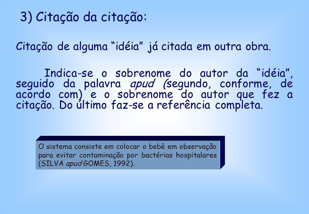 3) Citação da citação: Citação de alguma idéia já citada em outra obra. Indica-se o sobrenome do autor da idéia, seguido da palavra apud (segundo, con