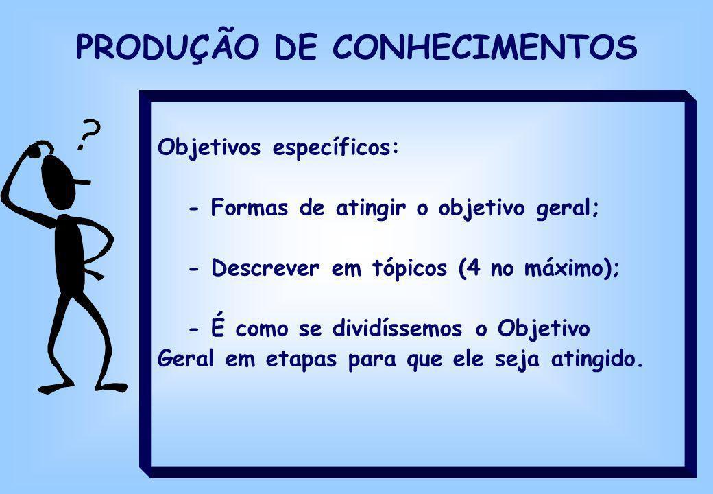 PRODUÇÃO DE CONHECIMENTOS Objetivos específicos: - Formas de atingir o objetivo geral; - Descrever em tópicos (4 no máximo); - É como se dividíssemos