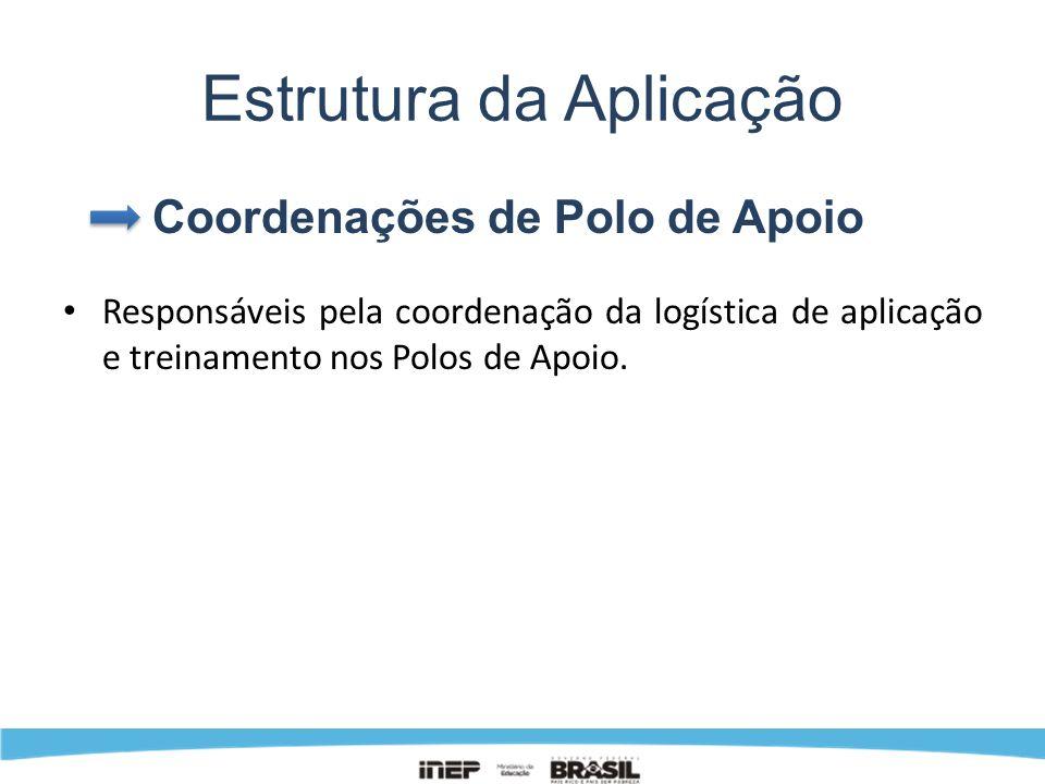 Estrutura da Aplicação Coordenações de Polo de Apoio Responsáveis pela coordenação da logística de aplicação e treinamento nos Polos de Apoio.