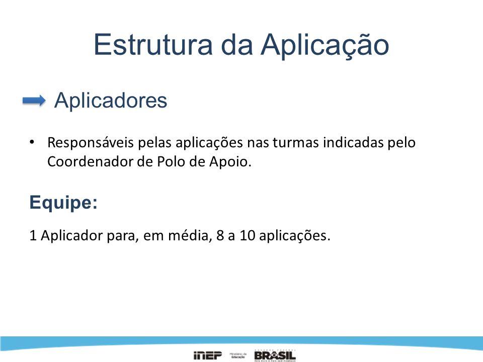 Estrutura da Aplicação Aplicadores Responsáveis pelas aplicações nas turmas indicadas pelo Coordenador de Polo de Apoio. Equipe: 1 Aplicador para, em