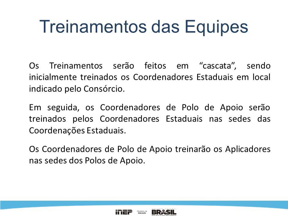 Treinamentos das Equipes Os Treinamentos serão feitos em cascata, sendo inicialmente treinados os Coordenadores Estaduais em local indicado pelo Consó
