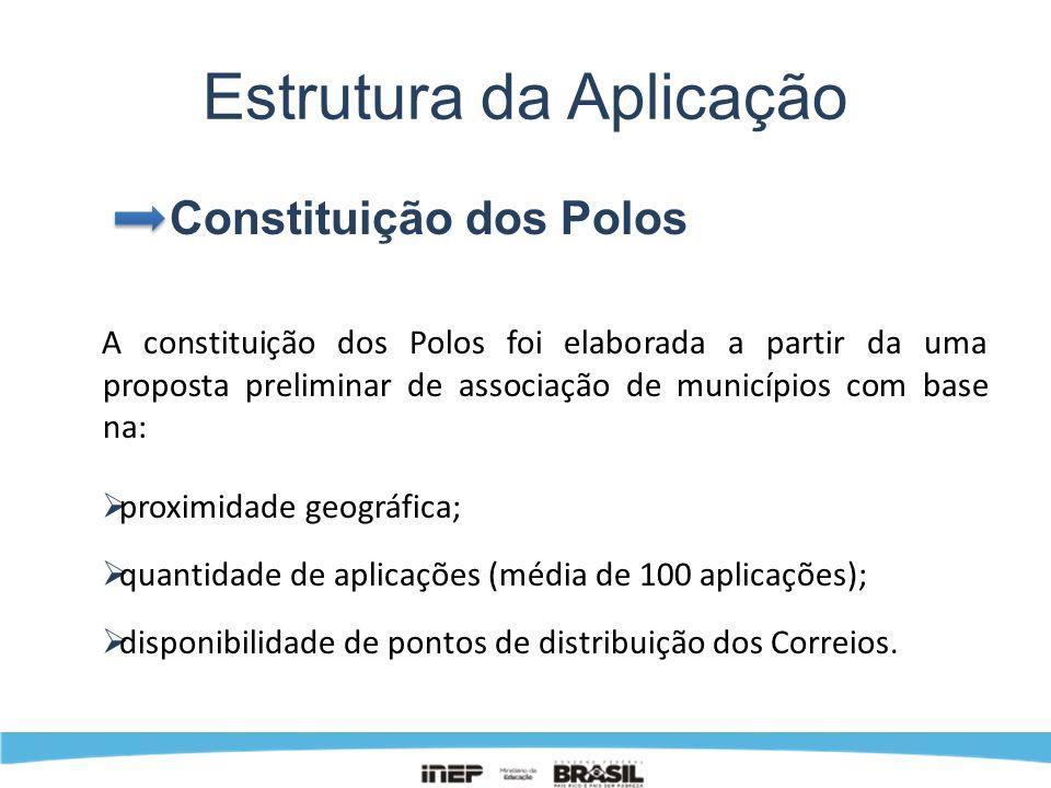 Estrutura da Aplicação Constituição dos Polos A constituição dos Polos foi elaborada a partir da uma proposta preliminar de associação de municípios c