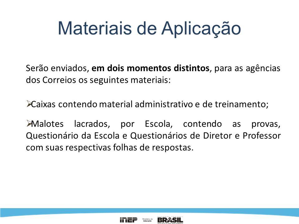 Materiais de Aplicação Serão enviados, em dois momentos distintos, para as agências dos Correios os seguintes materiais: Caixas contendo material admi