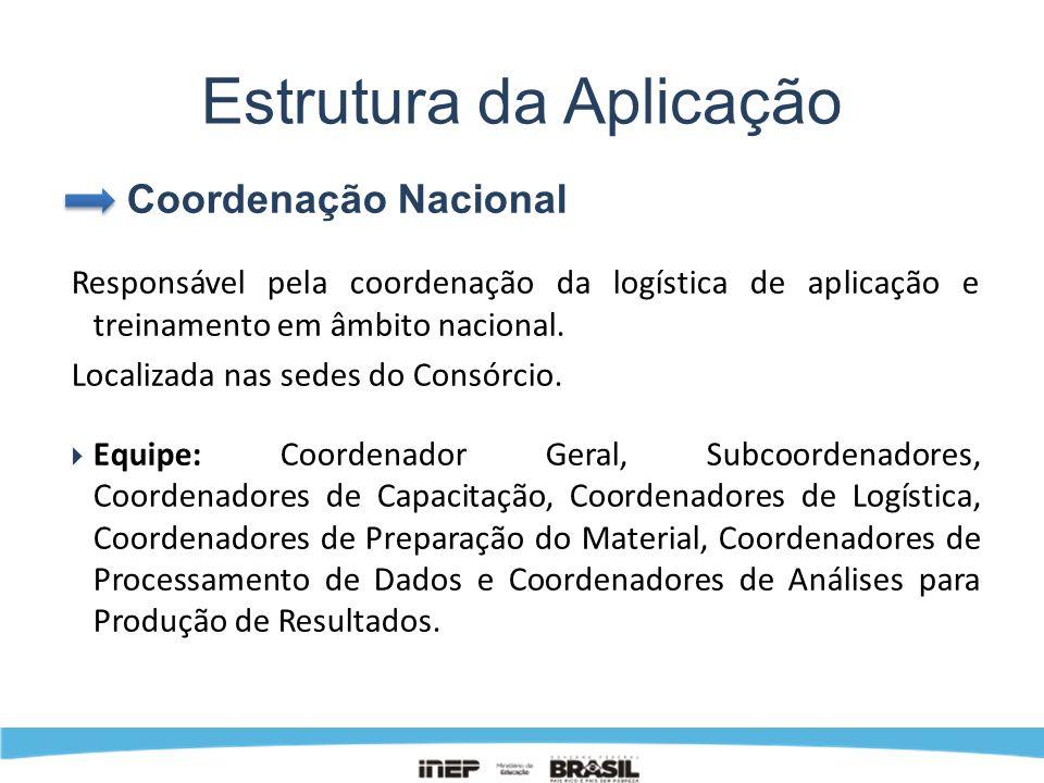 Estrutura da Aplicação Coordenação Nacional Responsável pela coordenação da logística de aplicação e treinamento em âmbito nacional. Localizada nas se