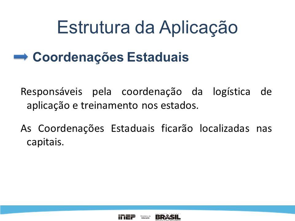Estrutura da Aplicação Coordenações Estaduais Responsáveis pela coordenação da logística de aplicação e treinamento nos estados. As Coordenações Estad