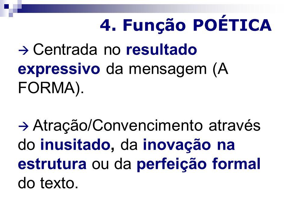4.Função POÉTICA Centrada no resultado expressivo da mensagem (A FORMA).